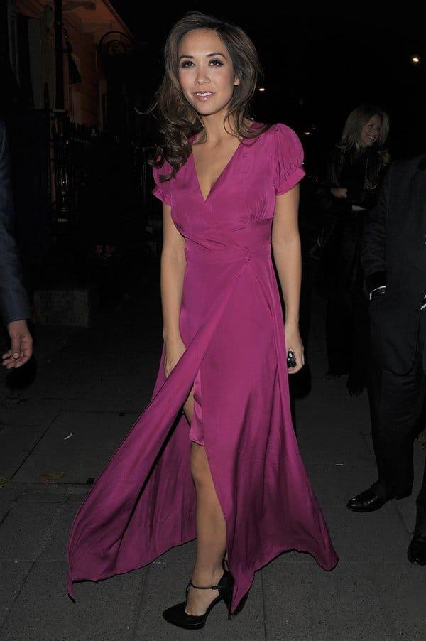 Myleene Klass arrives at Annabels private members club, wearing a stunning pink dress