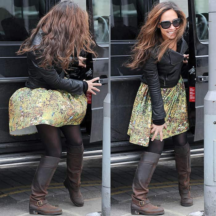 Myleene Klass taking her children to school in London, England on March 26, 2013
