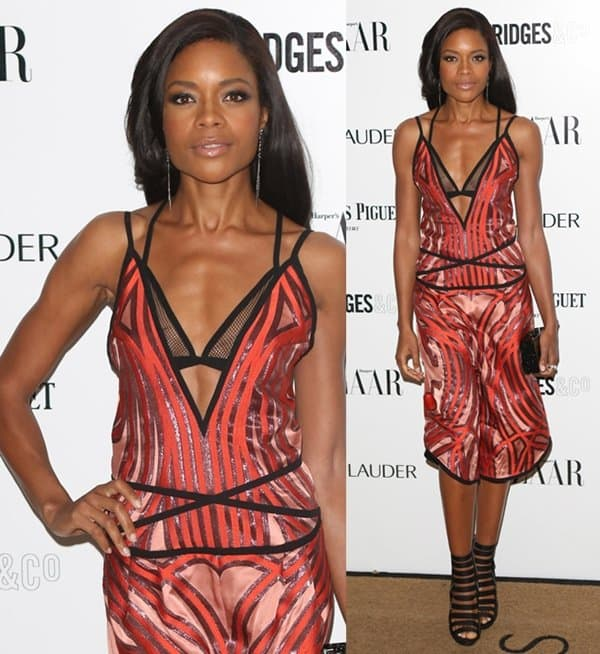 British actress Naomie Harris rocked a lingerie-styled dress that had a very low neckline, revealing her sexy bra underneath