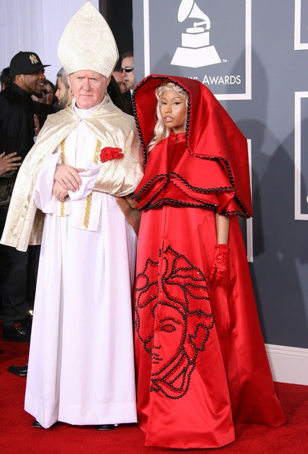 Nicki Minaj in Sacrilegious Red Versace Cape