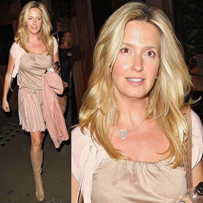 Penny Lancaster-Stewart heading to a cab after watching 'Singin' in the Rain' at the Palace Theatre in London, England, on June 14, 2012