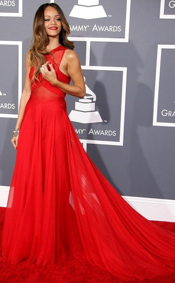 Rihanna rocked a sheer, red Azzedine Alaia dress