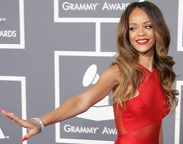 Rihanna went braless at the 55th Annual Grammy Awards