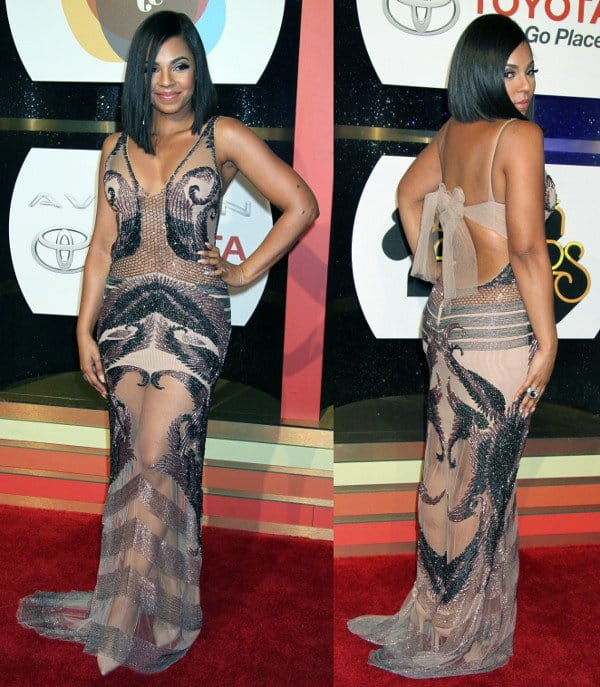 Ashanti rocking the sheer trend in a beaded dress by Reeve at the Soul Train Awards 2013