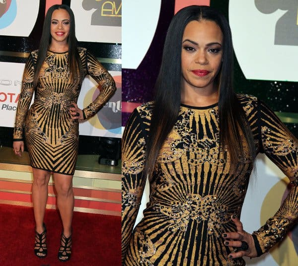 Faith Evans in a printed Hervé Léger dress and Giuseppe Zanotti sandals at the Soul Train Awards 2013