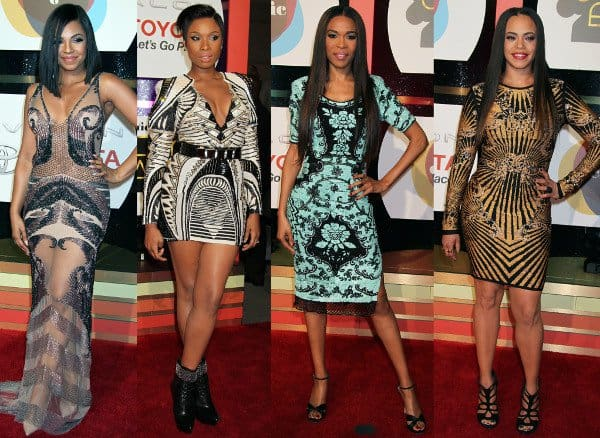 4 sexy ladies in geometric dresses at the Soul Train Awards