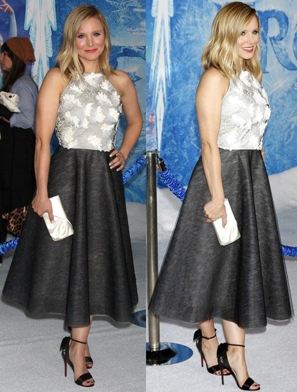 "Actress Kristen Bell in a tea-length dress at the Premiere of Walt Disney Animation Studios' ""Frozen"""