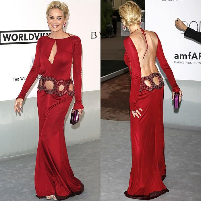 Sharon Stone's Roberto Cavalli dress that was made of stretch jersey was heavily weighed down by a water-soaked hemline