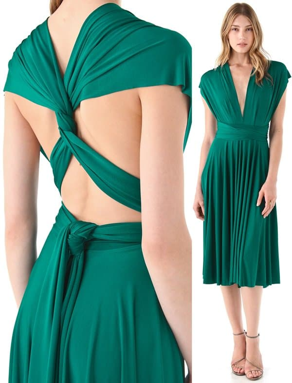 One dress with extra-long straps wrap to create a truly unique look