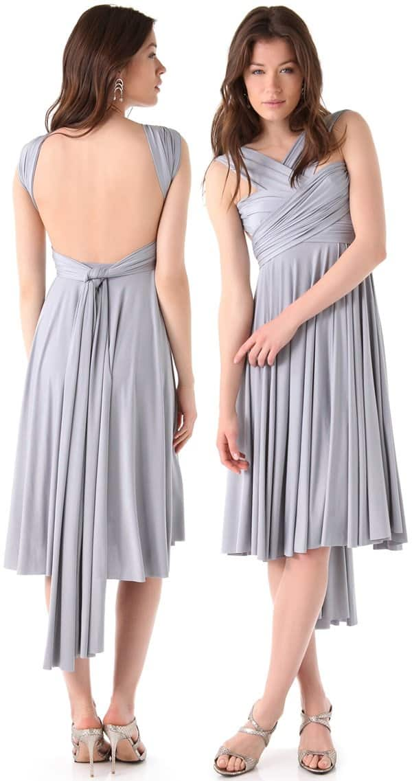 A dove-colored tea-length dress that can be worn over 15 different ways