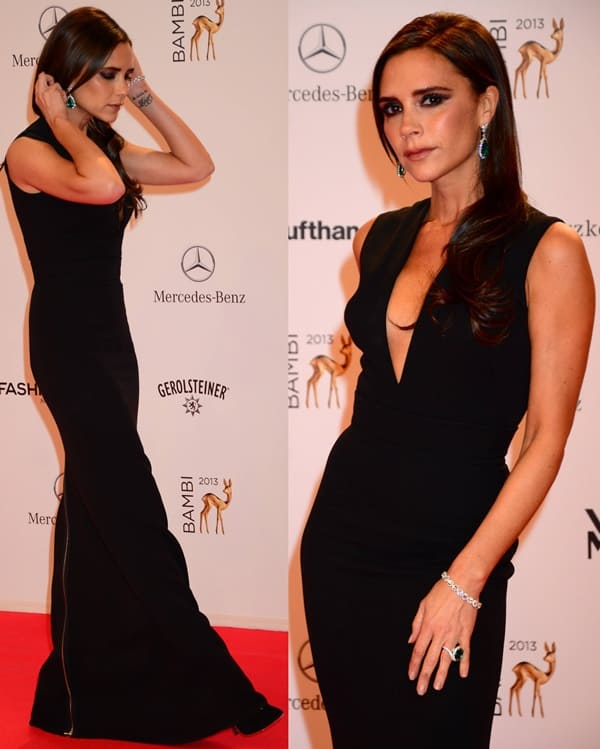 Victoria Beckham wore a black floor-length gown from her eponymous fashion label