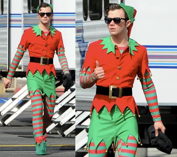 Chris Colfer still dashing even in his Santa's Little Helper costume