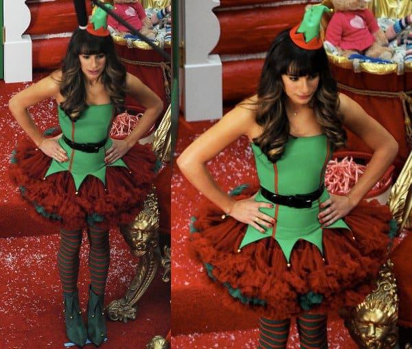 Lea Michele in an elf costume