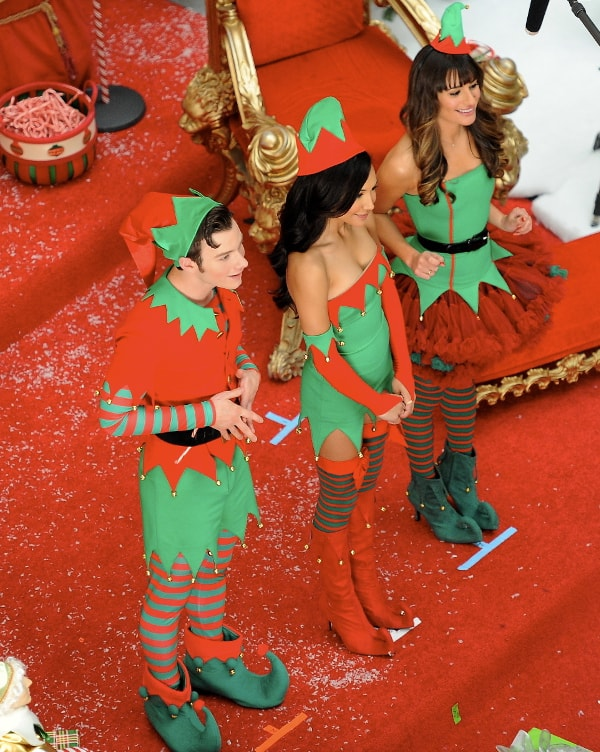 Lea Michele, Naya Rivera, and Chris Colfer spotted shooting Glee's Christmas special in Burbank, California, on November 7, 2013