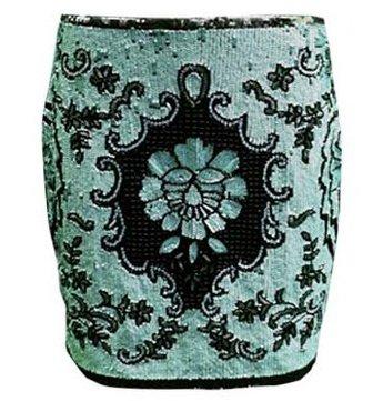 Seafoam Green Leila Shams Embellished Skirt