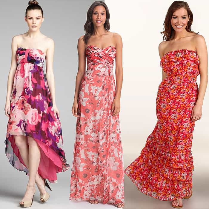 strapless pink maxi dresses