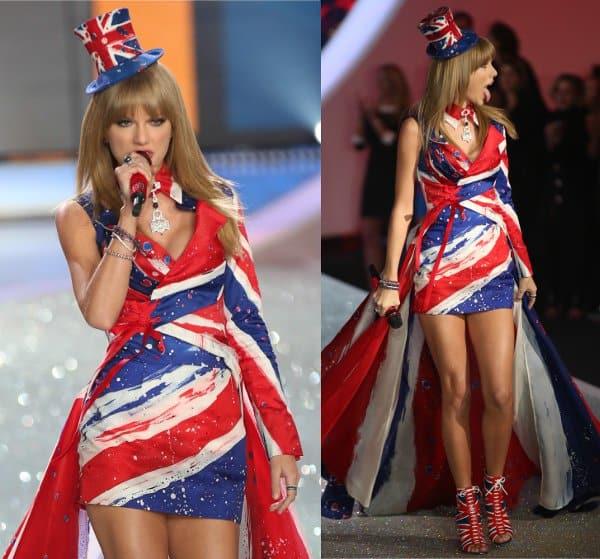 Taylor Swift in Union Jack dress