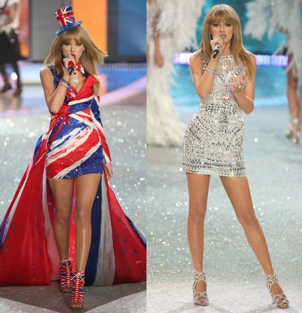 Taylor Swift wears two glam dresses at the 2013 Victoria's Secret Fashion Show