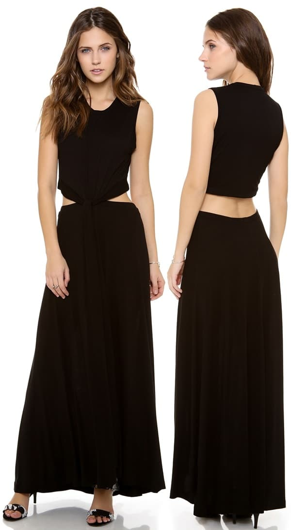 A twisted knot links the bodice to the skirt on a divided black maxi dress