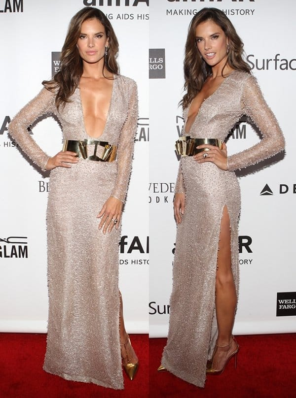 Alessandra Ambrosio at the 2013 amfAR Inspiration Gala at Milk Studios in Los Angeles on December 12, 2013
