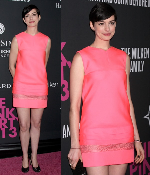 Anne Hathaway at Pink Party 2013 to benefit women's cancer research held at Hanger 8 in Santa Monica, California, on October 20, 2013