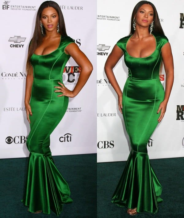 Beyonce Knowles donned a skin-tight Zac Posen Resort 2008 dress