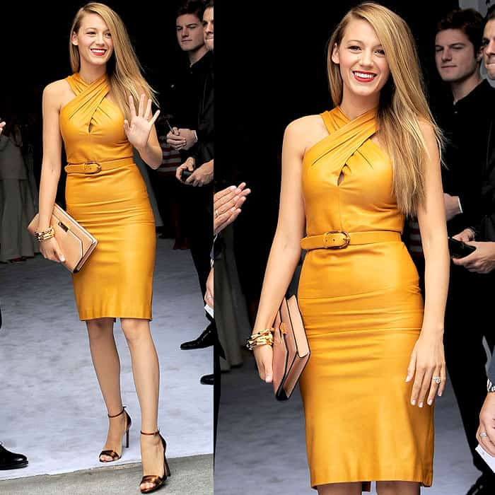Blake Lively flaunted her sexy legs at the Gucci fashion show at Milan Fashion Week Spring/Summer 2013 in Milan