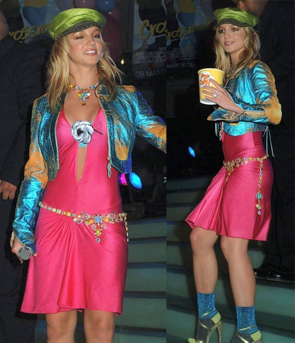 Britney Spears promoting her latest film Crossroads in Amsterdam, Netherlands, on March 19, 2002
