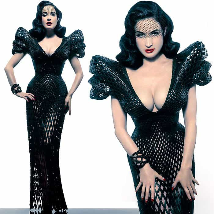 Dita Von Teese modeling the very first fully articulated 3D-printed dress