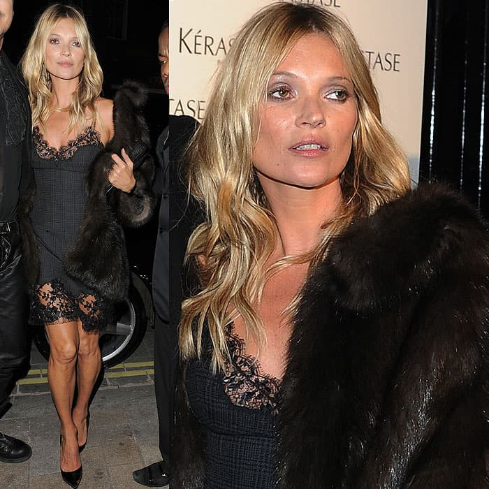 Kate Moss arriving at the L'Oreal Kerastase Paris event