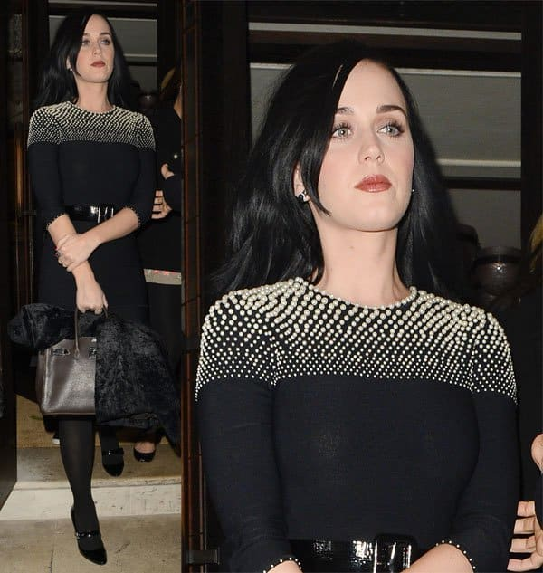 Katy Perry wearing well-heeled Mary Janes and a brown Hermès Kelly bag