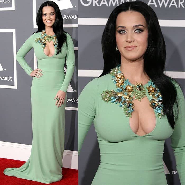 Katy Perry flaunting cleavage at the 55th Annual Grammy Awards