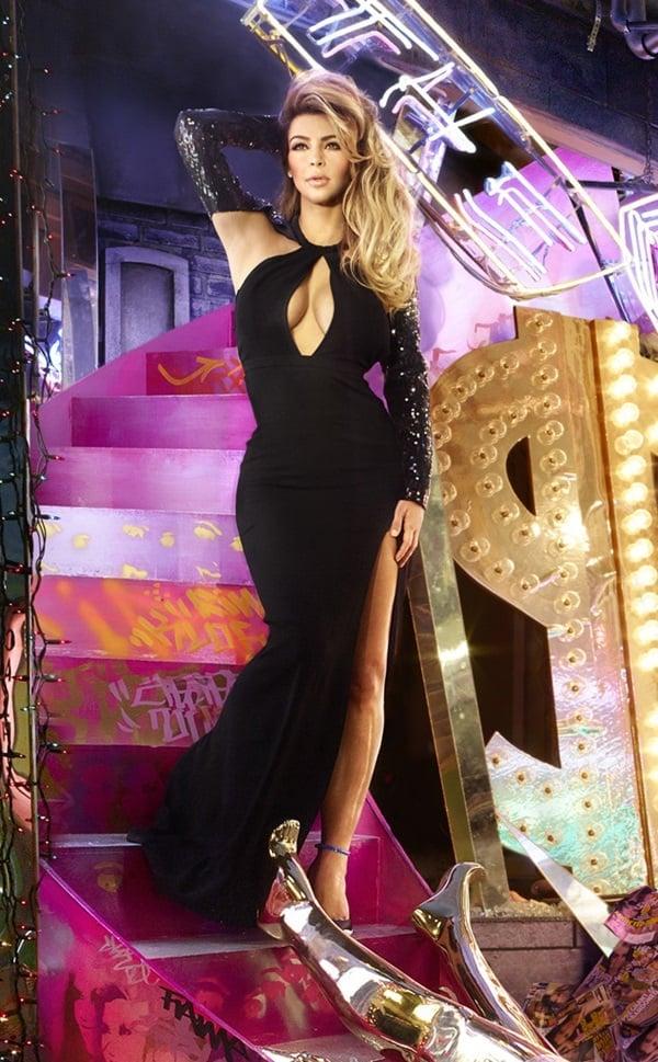 Kim Kardashian in a black gown by Yves Saint Laurent