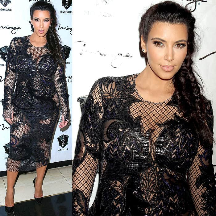 Kim Kardashian rocked a revealing dress at 1 Oak Nightclub at The Mirage Resort and Casino in Las Vegas