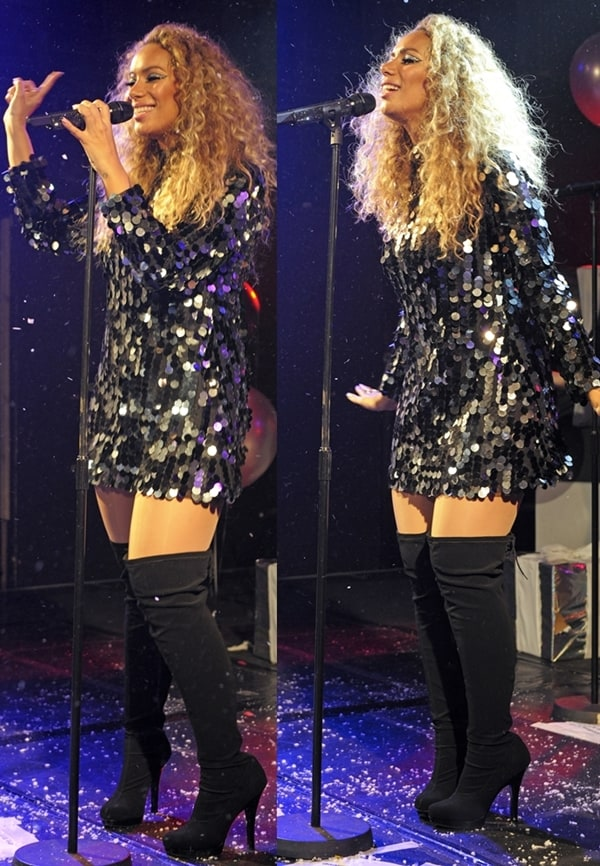 Leona Lewis performing live in thigh-high platform boots