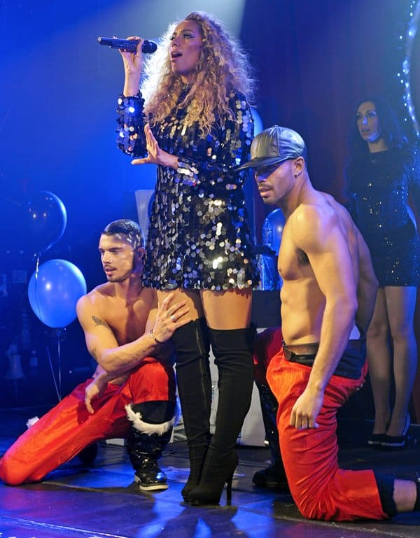 Hunky half-naked men having a good time with Leona Lewis
