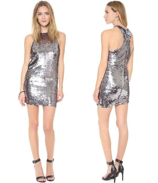 Line & Dot Mirror Sequin Halter Dress3