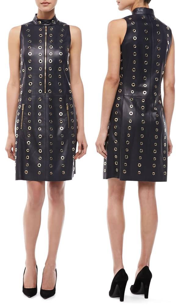Michael Kors Leather & Grommet Moto Shift Dress