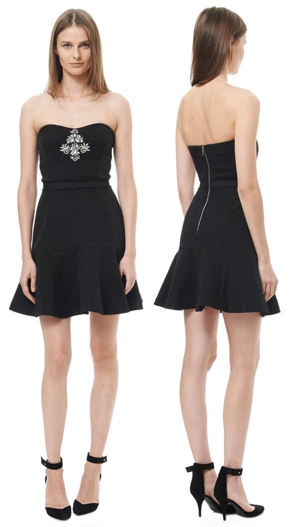 Rebecca Taylor Strapless Cloque Dress with Embellishment