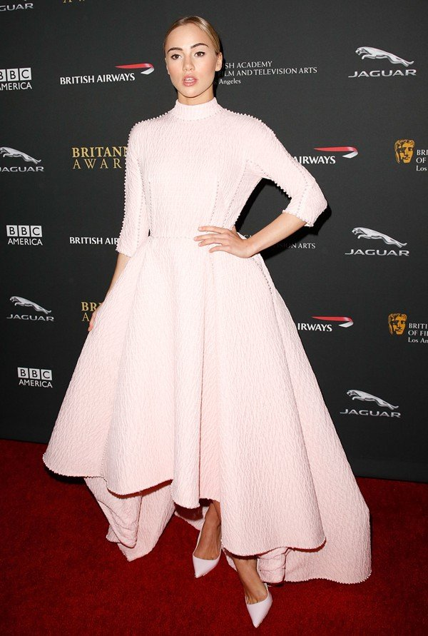 Suki Waterhouse at the 2013 BAFTA Los Angeles Jaguar Britannia Awards presented by BBC America at The Beverly Hilton Hotel in Los Angeles on November 9, 2013
