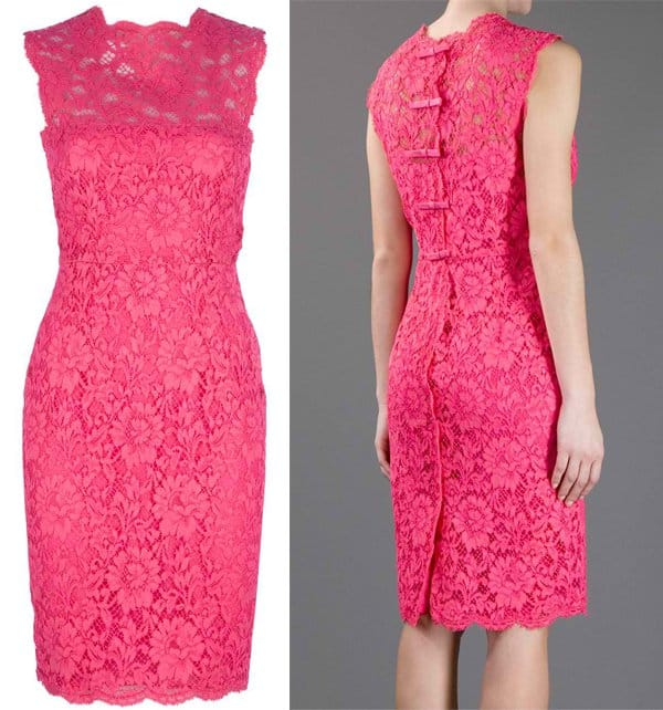 Valentino Fitted Floral Lace Dress