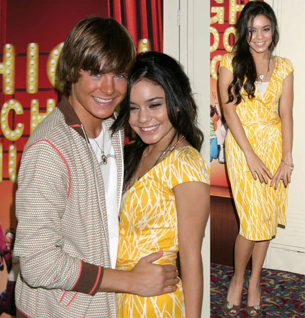Zac Efron and Vanessa Hudgens at the press event for High School Musical held at the Renaissance Hollywood Hotel in Los Angeles, California, on April 5, 2006