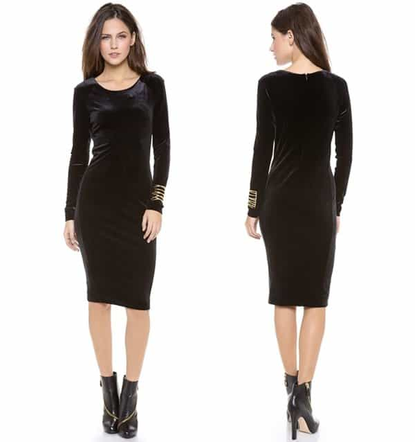 An elegant black midi dress styled in velvet with a touch of stretch