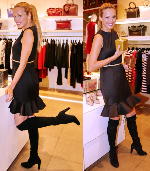 Petra Nemcova in a classic little black dress to promote her line of charity candles