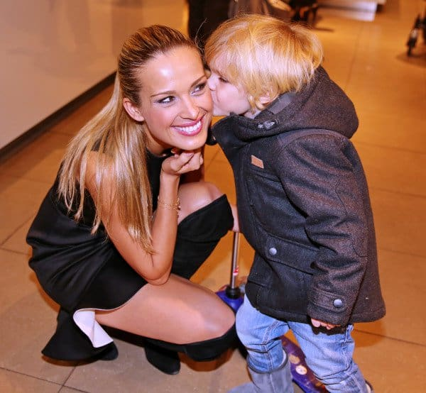 Petra Nemcova getting a kiss from an adorable admirer