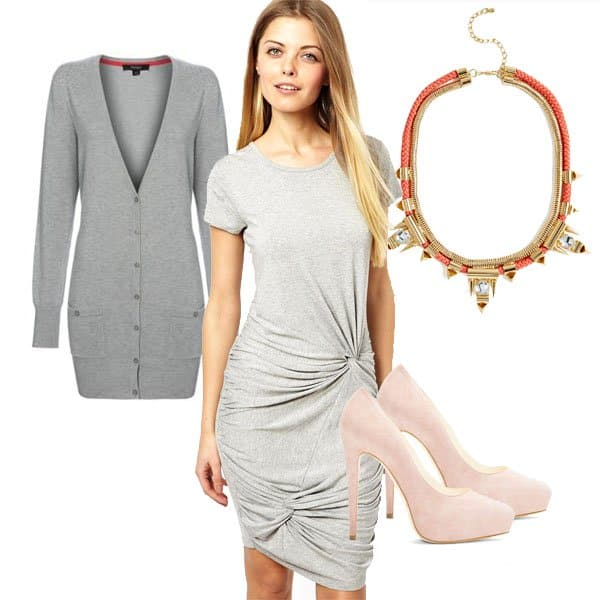 Knotted dress with cardigan, necklace, and pumps
