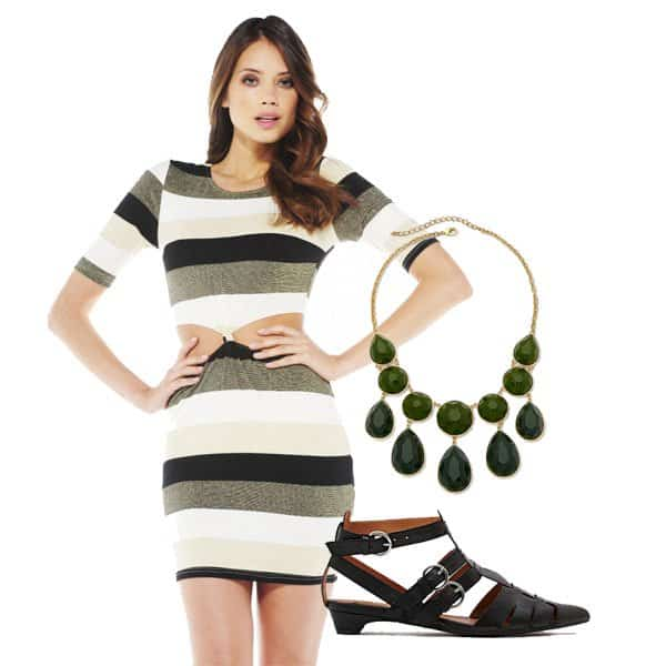 Striped knot dress with necklace and kitten heels