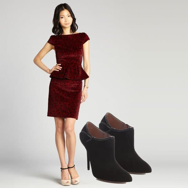 Red rose print velvet dress with ankle booties