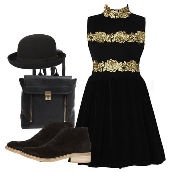 Cocktail corduroy pleated dress with hat, shoes, and backpack