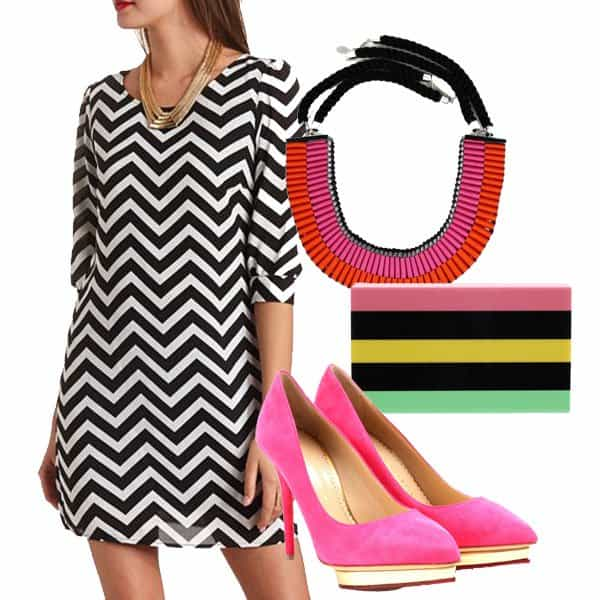 Chevron shift dress with pink pumps, necklace and clutch